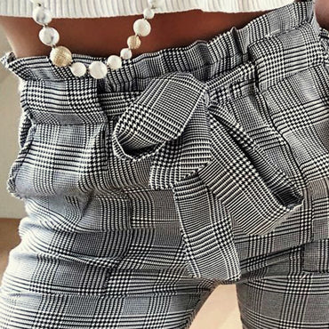 Fashion Plaid Pleated High Waist Skinny Pencil Pants Trousers