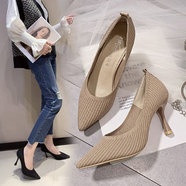 Fashion Black High Heels New Shallow Mouth Shoes