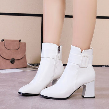 White Black Thick High Heel Ankle Boots
