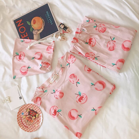 New Coming Pajama Sets Apple Print Comfortable Cotton Sleepwear