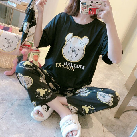 Female Pajamas Loose Casual Sleepwear For Girl Long Sleeve 2 Pcs