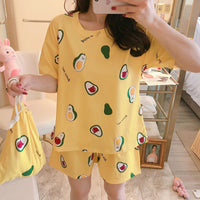 Comfortable Sleepwear Casual Pajamas Short Sleeve Two Pieces
