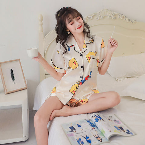 Cotton Pajamas Short Sleeve&Pants Casual Girl's Pyjamas Sleepwear