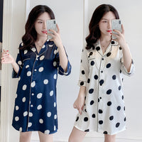 Polka Dot Sleep Shirt Long Boyfriend Lingerie Kimono Sleepwear