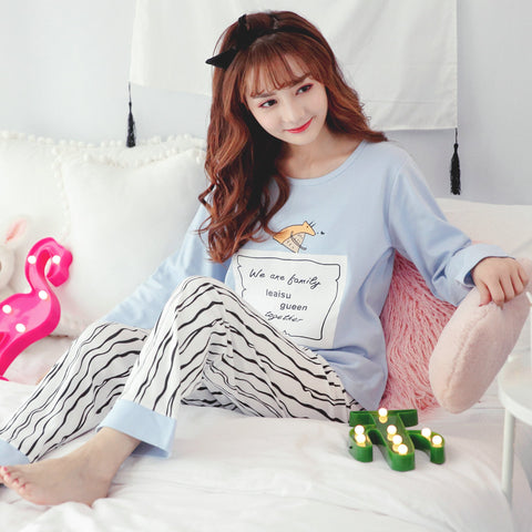 Home Suits Long Sleeve 2 Pcs Loose Comfortable Night Sleepwear