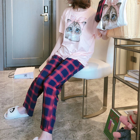 New Pajamas Short Sleeve Long Pants 2 Pcs Good Quality Cotton Sleepwear