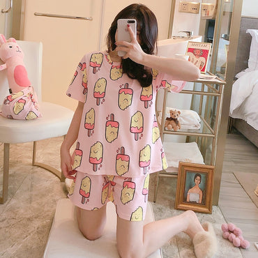 Female Cotton Pajamas Ins Hot Sale Fashionable Pyjamas Sleepwear