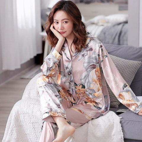 Silk Pajamas Set Long Sleeve Turn-down Collar Elegant Sleepwear