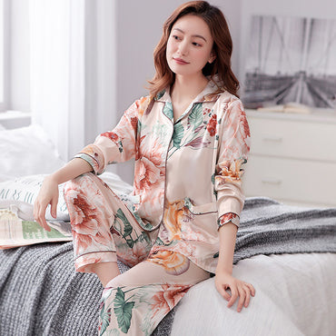 Silk Pajamas Long Sleeve Turn-down Collar Cardigan Elegant