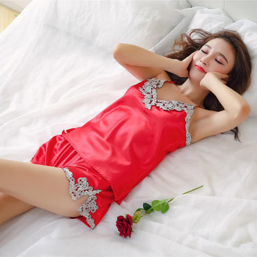 New Fashionable Pajamas Lace Silk Girl's Sexy Pyjamas