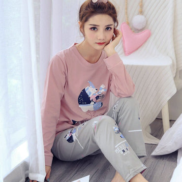 New Coming Pajamas Cotton Long Sleeve 2 Pcs Pyjamas
