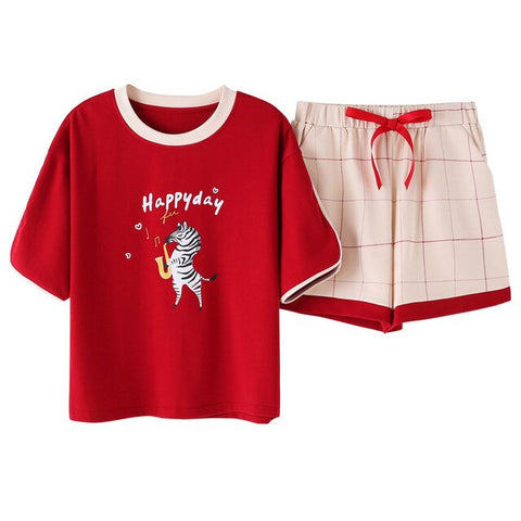 Cute Red 2 Pieces Pajamas Sets Lovely Top + Shorts Cotton