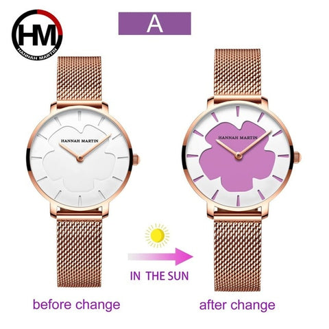 Change Color in the Sun Stainless Steel Mesh Band Quartz Watches