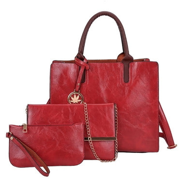 Bag Set Fashion PU Leather Ladies Handbag Solid Color