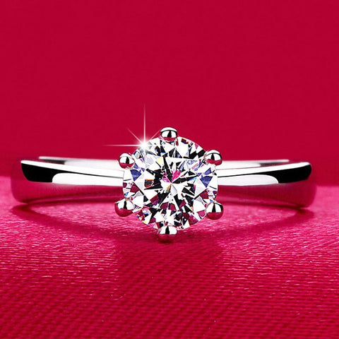 Wedding Rings Jewelry Silver Color Engagement Rings