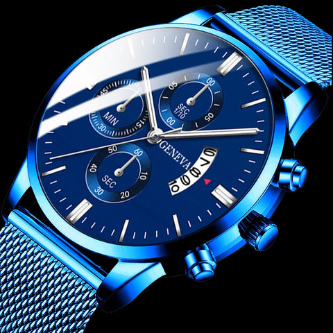 Homme Classic blue Stainless Steel Mesh Belt Watch