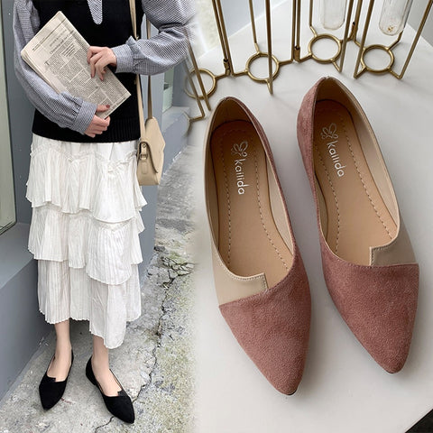 New Fashion Splice Color Flats Fashion Pointed Toe Ballerina Ballet