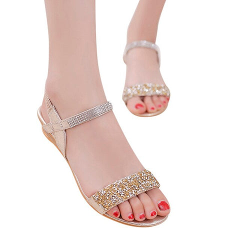 Sequin Sandals Shoes Luxury Gold Silver Shoes Elastic Band