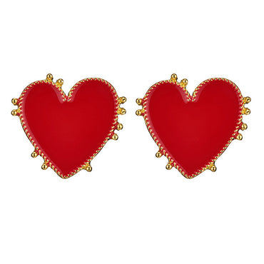 Vintage Bohemia Big Red Heart Earrings