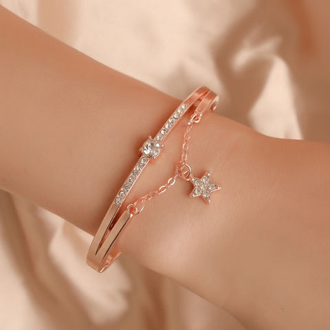 Hot Luxury Rose Gold Stainless Steel Bracelets Bangles
