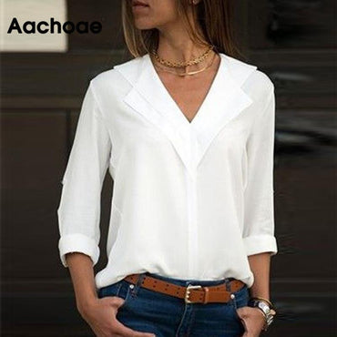 White Long Sleeve Leisure Blouse Double V-neck Tops and Blouses