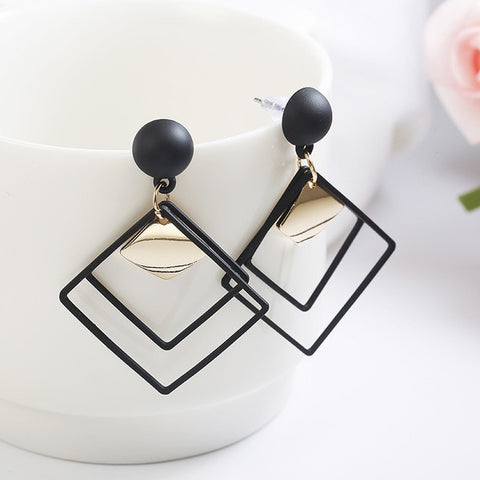 Vintage Fashion Big Rhombus Square Black Green Khaki Earrings