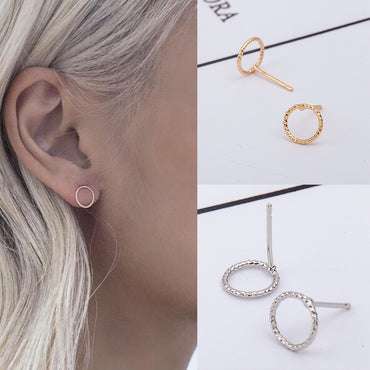 simple and stylish wild geometric twist circle earrings