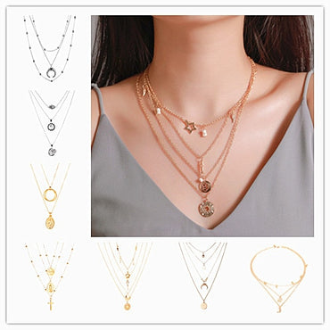 New Gold Color Pendant Long Moon Lock Pendant Necklaces