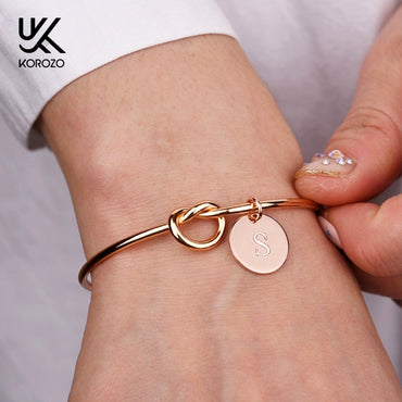 Personalized Knot Initial Bangles Alloy Letter Bracelets
