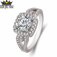 Style White Crystal Silver Wedding Cubic Zirconia Ring
