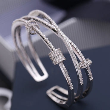 Simple Silver Micro Inlaid Zircon Multilayer Smart Ring Bracelet