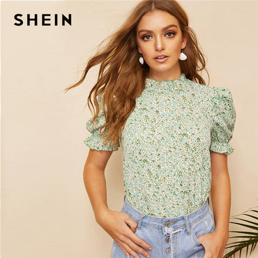 Boho Green Ditsy Floral Frill Neck Puff Sleeve Top