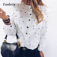 Polka Dot Ruffle Blouse Shirt Elegant Casual O Neck