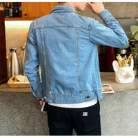 Denim Solid Cowboy Spring Casual Slim Bomber Jacket