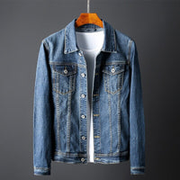 Solid Casual Slim Long Denim Jacket Plus Size