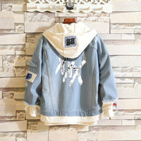 Denim Jacket Fake two pieces Coat Hip Hop Fashion Streetwear