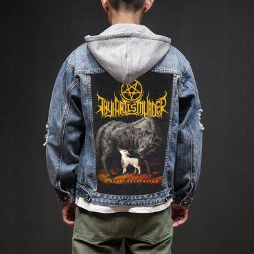 Hardcore Punk Style Patch Designs Denim Jeans Jackets