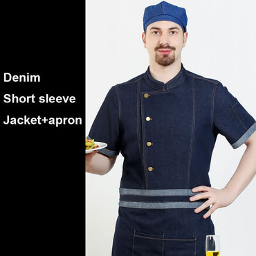 Jacket with Apron Uniform Cook Denim Cotton Short&full Sleeve Tops