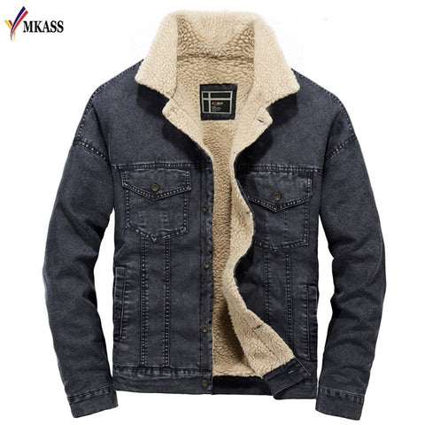 Wool Warm Single Breasted Fleece Denim Jackets