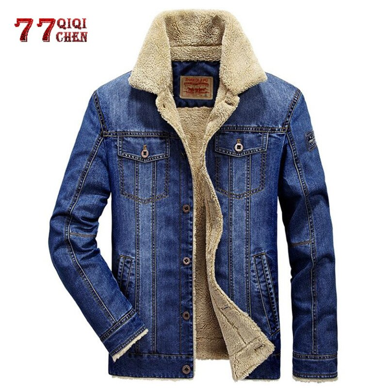 Denim Fleece Jacket Warm Parkas Casual Retro Fur Collar Jeans