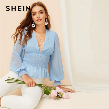 Sexy Boho Blue Deep V Neck Peplum Smocked Jacquard Top
