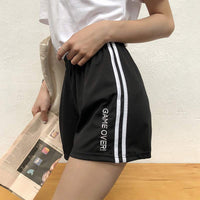 Harajuku Letter Embroidery Sweet Loose Striped Elastic Waist Short