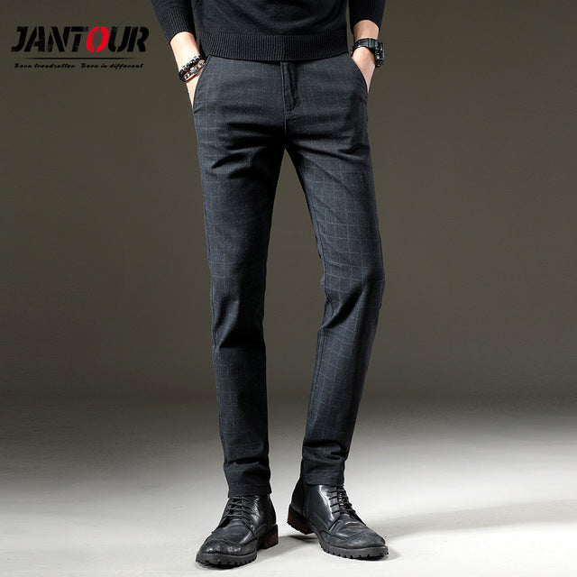 Casual Elastic Long Trousers Male Cotton plaid straight