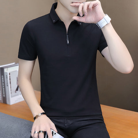 Fashion Cotton Short Sleeve Turn-down Collar T Shirt