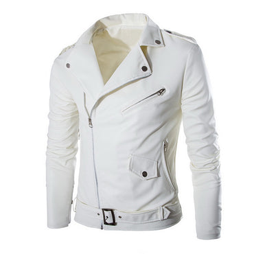 Fashion Motorcycle Leather Jacket Slim Fit Coat
