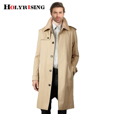Holyrising Trench Coat Casual Masculino Overcoat
