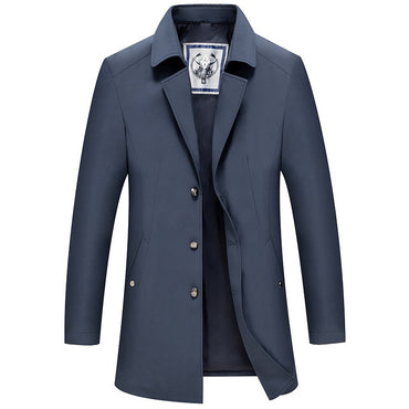Trench Coats Solid Color Slim Fit Thin Trench Male Casual