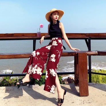 Boho Floral High Waist Chiffon Wide Leg Pants