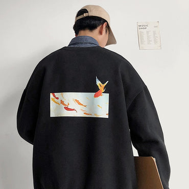 Fleece Oversized Fish Print Hoodies Harajuku Streetwear Sweatshirts
