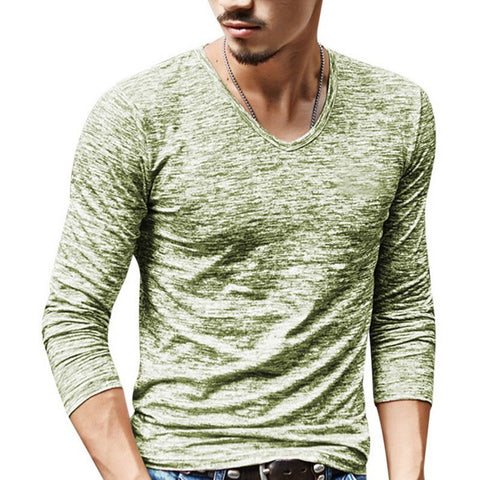 Fashion Long Sleeve T-Shirt Ink Printing -Breasted